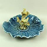 BeesClover Ceramic Birds and Tree Jewellery Organizer Dish Decorative Porcelain Flower Candy Serving Tray Handicraft Ornament Accessories Blue
