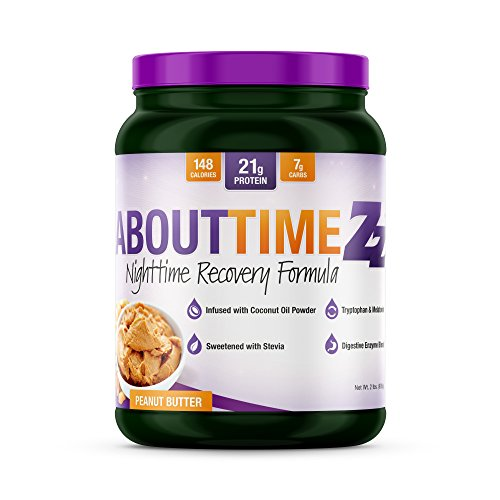About Time Casein Protein Peanut Butter 2 Pounds - 20 Grams Protein, Nighttime Recovery Formula, No Artificial Sweeteners, No Growth Hormones