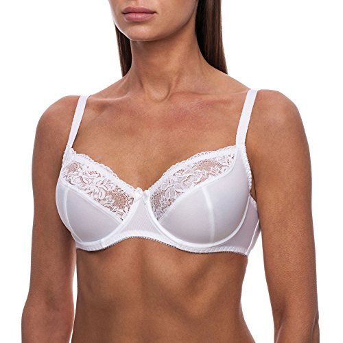 frugue Women's Sheer Lace Full Coverage Underwire Unlined Bra White 36 C