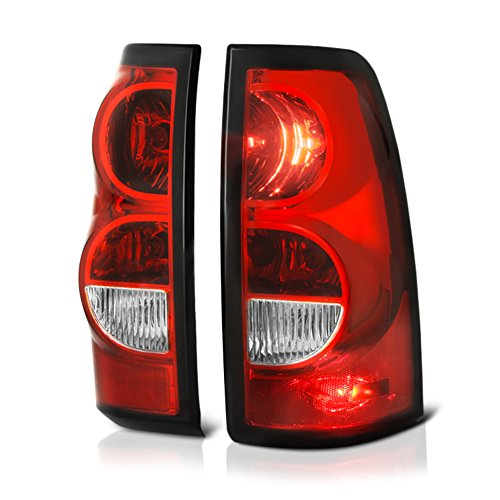 VIPMOTOZ For 2003-2006 Chevy Silverado 1500 2500 3500 Pickup Truck OE-Style Red Lens Tail Light Housing Lamp Assembly Replacement Driver & Passenger Side (Side Tail Truck Style Pickup)
