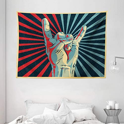 Ambesonne Music Tapestry, Hand in Heavy Rocker Sign Musical Universal Gesturing Thunder Bolts Party People, Wide Wall Hanging for Bedroom Living Room Dorm, 80 X 60 , Red Navy