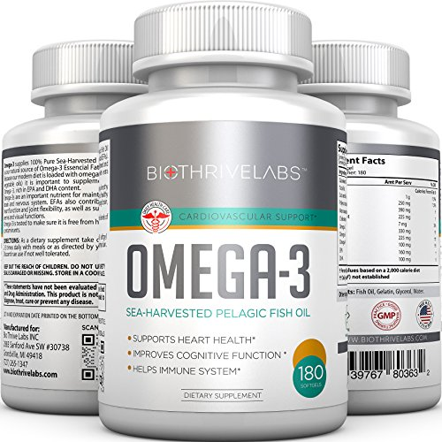 Pures oméga-3 pilules d'huile de poisson - 180 gélules avec riche en DHA et EPA acides gras essentiels. Renforce le cœur, améliore la fonction cognitive, stimule le système immunitaire avec No Side Effects! Vivre plus longtemps et en meilleure santé! 100%