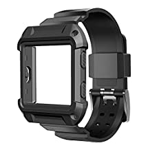 Fitbit Blaze band, Lamshaw Resilient Protective Case with Strap Bands for Fitbit Blaze Smart Fitness Watch (Case with band black)