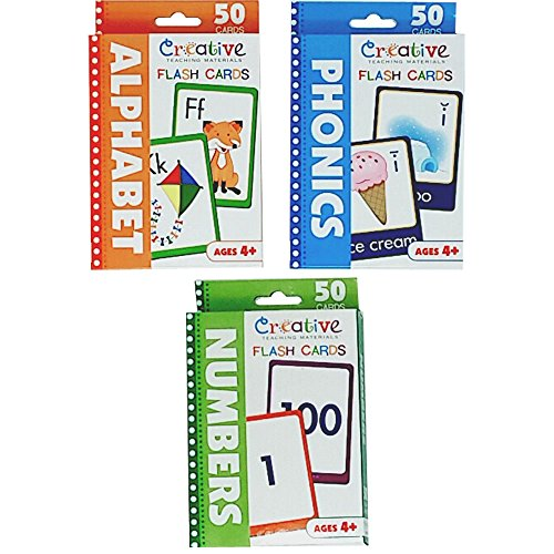 Creative Teaching Materials Set of 3 Flash Cards: Numbers, Alphabet and Phonics Flash Cards with Orange Letters zip bag for easy carrying and storage