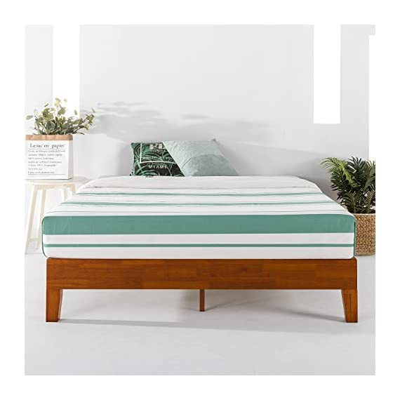 """Mellow Naturalista Grand - 12 Inch Solid Wood Platform Bed with Wooden Slats - No Box Spring Needed - King (Cherry) - King Bed Frame, 12"""" Solid Wood Platform Bed Frame w/GRAND Wooden Slat (No Box Spring Needed), Cherry, King Size Mid-Century Modern Style with 3.5 Inch Solid Wooden Frame for Better Durability Noise Free Construction with Non-Slip Tape on the Wooden Slat for Stability - bedroom-furniture, bedroom, bed-frames - 514tus3ksDL. SS570  -"""