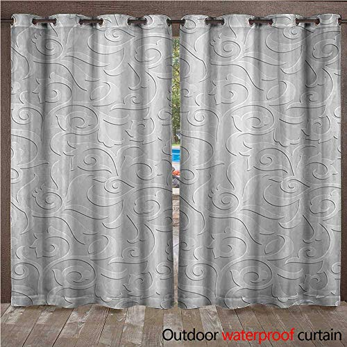 WilliamsDecor Silver Home Patio Outdoor Curtain Abstract Natural Ivy Leaves Flowers Curly Branches Vine Victorian Style Pattern Art Print W72 x L96(183cm x 245cm)