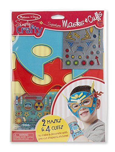(Melissa & Doug Simply Crafty Superhero Masks and Cuffs Kit With Stickers, Shapes, Foam Sticky Tabs)
