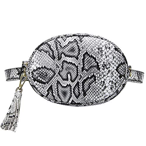 (TJEtrade Fanny Packs for Women Fashion Waist Bag Leather Belt Bum Bag Waterproof (Python White))