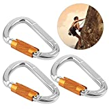 RUNACC Heavy-duty Rock Climbing Carabiners D-shape Screwgate Carabiner Twist Lock Carabiner, Set of 3