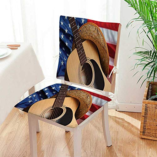 Support Double Guitar Stand - Mikihome Seat Cushion Country Music Acoustic Guitar with American Flag Popular Fourth of July Festive Multi 2 Piece Set Home Fashions seat Cushion Set Mat:W17 x H17/Backrest:W17 x H36