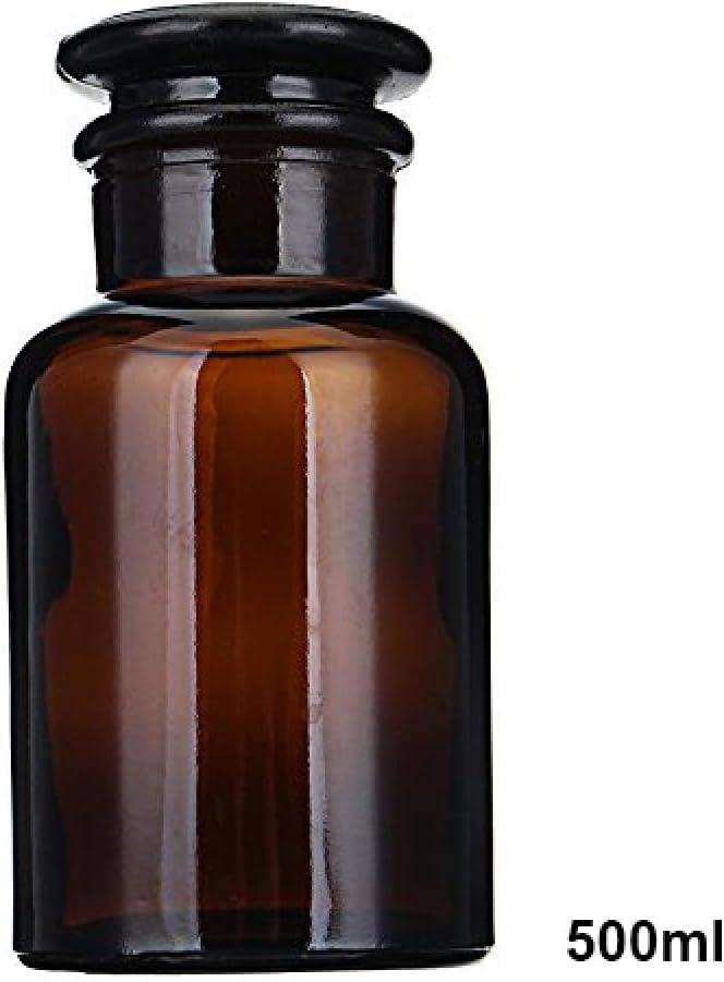 2 Piezas Marrón Cristal Botella de Reactivo Paso Cristalería Boca Helada con Corcho Experimento Herramienta Laboratorio / 500ml / marrón