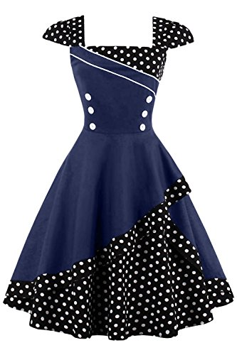 Babyonlinedress Robe Rtro Vintage anne 1950 Style Audrey Hepburn Rockabilly Swing Col Carr Grande Taille Cocktail Soire Marine Fonc