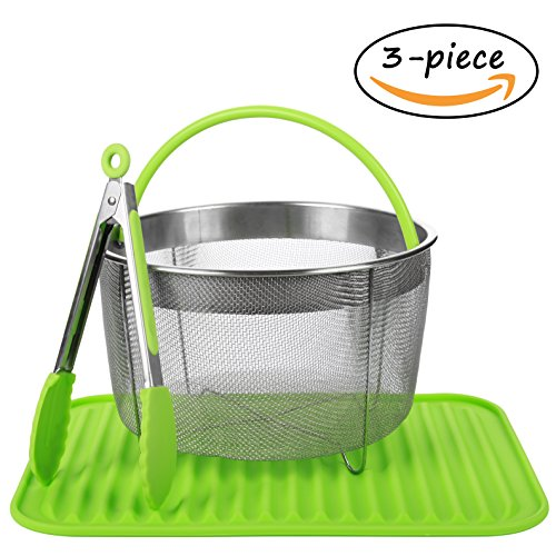 Steamer Basket for 6qt Instant Pot Accessories with Silicone Mat and Tongs - Fits IP InstaPot Pressure Cooker - Insta Pot Steaming Basket - Veggie Steamer Basket - Steamer Insert Steam Pot 6 Quart ()