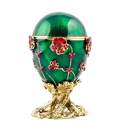 Plated Crystal Trinket Gold Silver (BestPysanky 1899 Pansy Russian Royal Russian Egg 2.5 Inches)