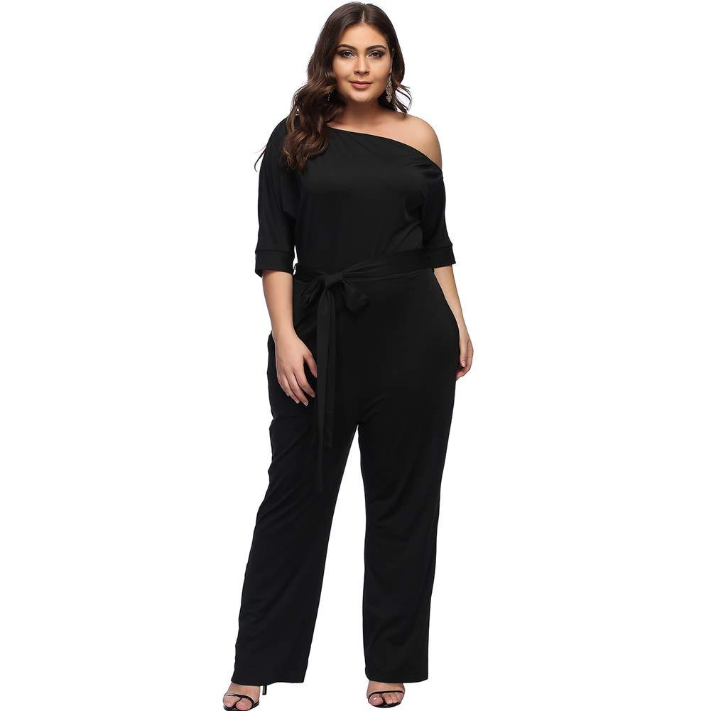 Desirepath Women Jumpsuits Elegant Plus Size Sexy Slash Neck Half Sleeve Wide Leg Long Pants (4XL, Black)