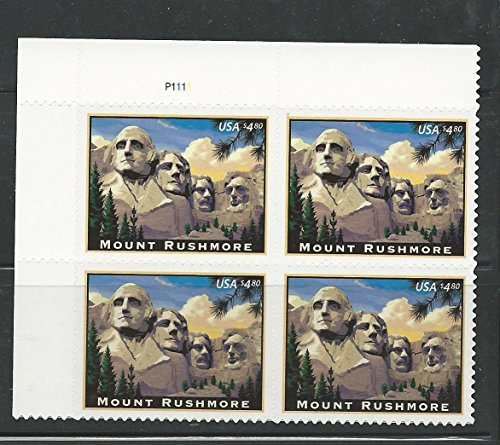 Mount Rushmore 2008 $4.80 Priority Mail Plate Block of Four Stamps Scott 4268 by USPS ()
