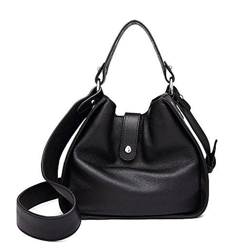 senza vera donna tracolla a in a borsa mano con rivetto a spalla pelle con nera Borsa spalline np1901 da Borsa EFBqx