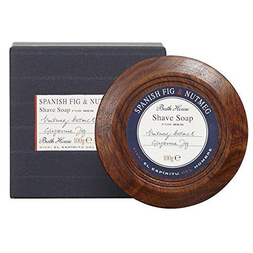 Bath House Spanish fig & Nutmeg Shaving Soap in Wooden Bowl - 100g