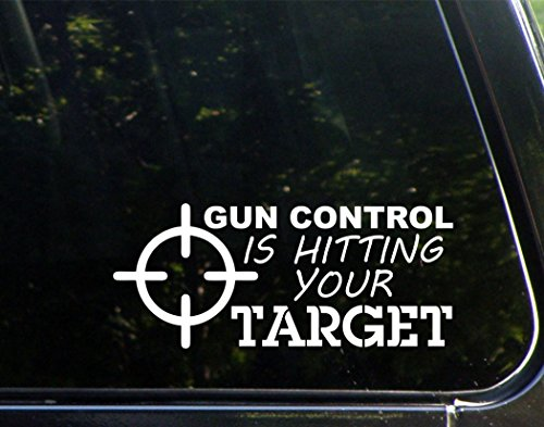 Gun Control Is Hitting Your Target - Die Cut Decal for Windows, Cars, Trucks, Laptops, ()