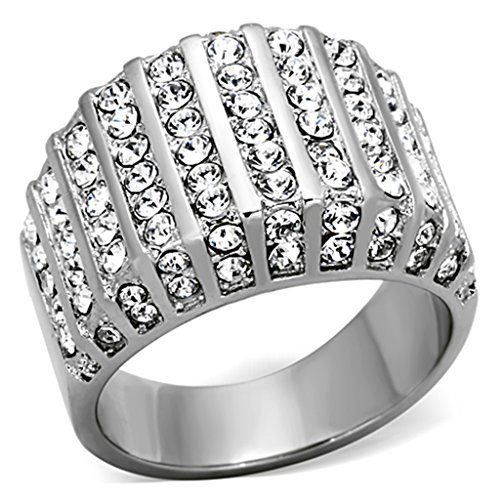 2.75 Ct Round Cut Crystal Stainless Steel Wide Band Fashion Ring Women's Size 5 Pave Wide Band