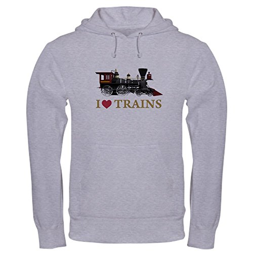 CafePress I Love Trains - Pullover Hoodie, Classic & Comfortable Hooded (Amtrak Train Engineer)