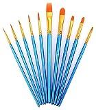 Paint Brushes, Laniakea 10pcs Paint Brush Set for Watercolor/Oil/Acrylic/Crafts/Rock & Face Painting(Blue)
