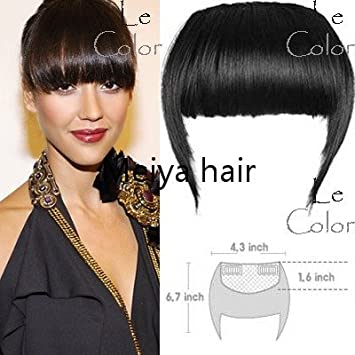 Girls False Bangs Neat Fringe Hairpiece Side Clip On Hair Extensions Extension Black
