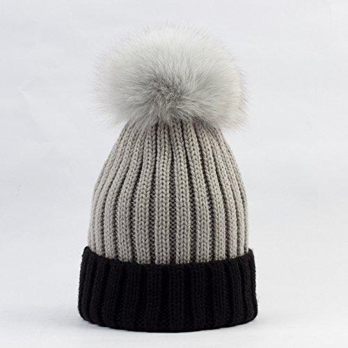 QETUOAD Gorro de invierno para mujer Casual hecho punto Patchwork Skullies  Gorros con sombreros de Pompon a8fc4486757