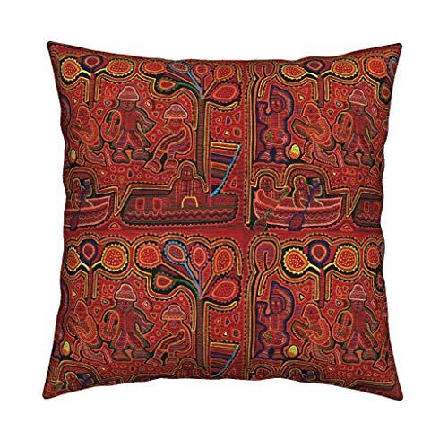 Roostery San Blas Kuna Indian Cl Eco Canvas Throw Pillow Kuna Indian Textile Des Vagabond Folk Art Desig Virginia Vivier Folk Ar Southwest Folk Art Desi by Vagabond Folk Art Cover and Insert Included ()