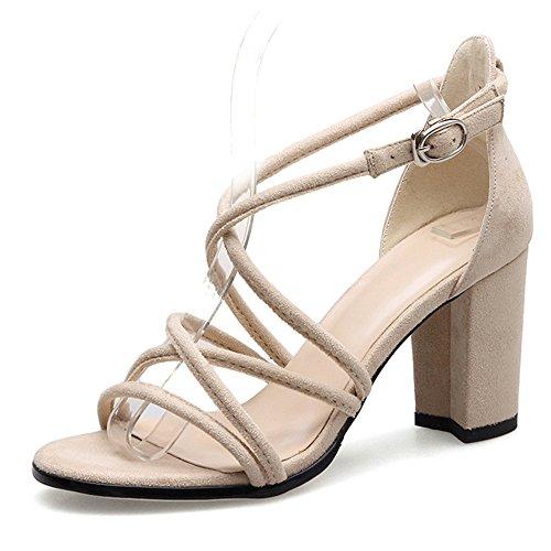 Sandalias Verano Tacón Zapatos Straps Tamaño Beige De Alto Rome Para Eu38 cn38 uk5 7 Grueso Zhirong 5cm 5 Punta Abierta Hollow Mujer Cross Color Vintage pwIEdqp