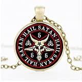 Inverted Pentagram Pendant & Necklace Of Goat Glass Dome Necklace Jewelry, Satanism Jewelry Party Gift