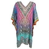 Mogul Women's Lightweight Caftan Dress / Cover Up With V-Neck Jewels (Pink-1)