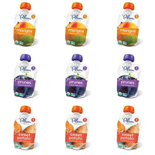Plum Organics Stage 1 Just Fruit & Veggies Variety Pouch Bundle: (3) Just Prunes 3.5oz, (3) Just Mangos 3.5oz, (3) Just Sweet Potato 3oz, (9Pack Total)