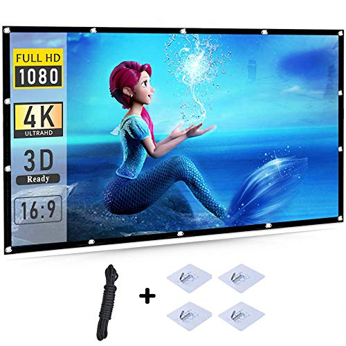 lesgos 4K Projector Screen, Portable 100 Inch PVC High Contrast Projector Screen 16:9 HD 3D Foldable Anti-Crease Projection Movies Screen Support Front & Rear for Home Cinema Theater Office, White