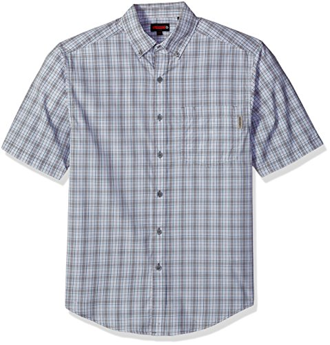 Wolverine Men's Mortar Poplin Blend Short Sleeve Shirt, Gravel Plaid, 2X-Large
