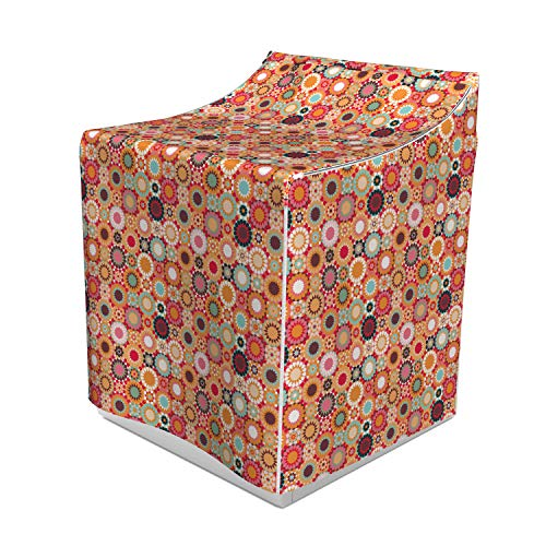 Lunarable Traditional Washer Cover, Patchwork Pattern of Colorful Mosaic Tiles Print Moroccan Geometric Ornaments, Dust and Dirt Free Decorative Print, 29