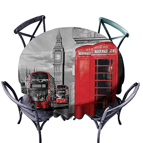 VIVIDX Spill-Proof Table Cover,London,London Telephone Booth in The Street Traditional Local Cultural Icon England UK Retro,for Events Party Restaurant Dining Table Cover,63 INCH,Red Grey