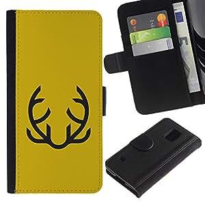 Paccase / Billetera de Cuero Caso del tirón Titular de la tarjeta Carcasa Funda para - Yellow Abstract Moustache Mustard - Samsung Galaxy S5 V SM-G900