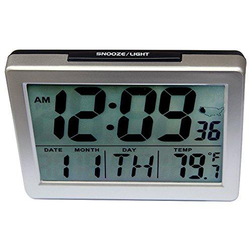 Jumbo Font Atomic Self-Setting Self-Adjusting Display, with Light Large LCD Time & Indoor Powered Deskside Clock HM27