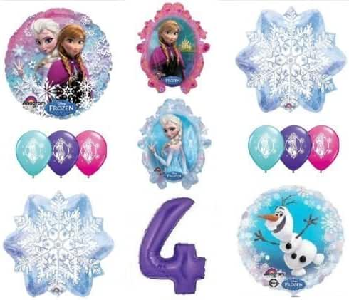 LoonBalloon FROZEN Anna ELSA OLAF Snowman Snowflake 4th #4 12 Birthday Party Balloons Set O by LoonBalloon