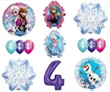 LoonBalloon FROZEN Anna ELSA OLAF Snowman Snowflake 4th #4 12 Birthday Party Balloons Set O