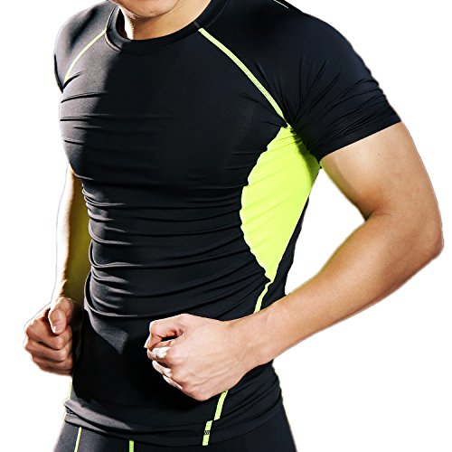 CFR Sport Base Layer Short Sleeves Compression Tights Shirts Men Activewear Muscle Tank for Fitness Workout Running Rashguard (Short Sleeves - Green, Medium)