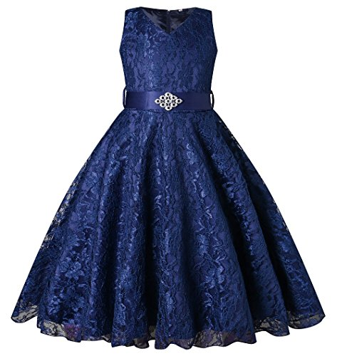 BEAUTY CHARM Girls Tulle Lace Glitter Vintage Pageant Prom Dresses with Belt -
