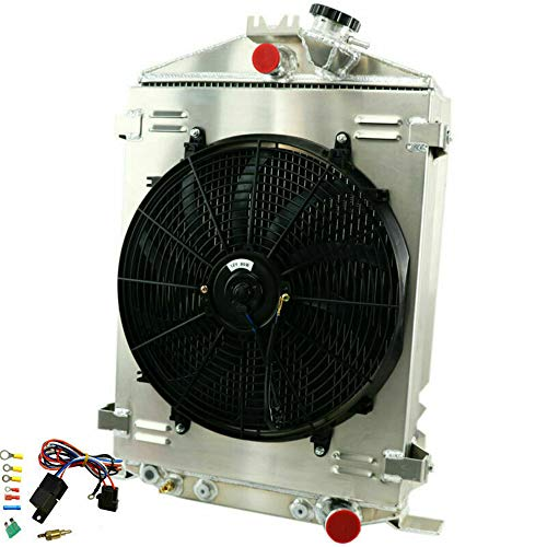 OzCoolingParts 32 Ford Model Series Radiator Fan Shroud Kit, 3 Row Core Aluminum Radiator + 16