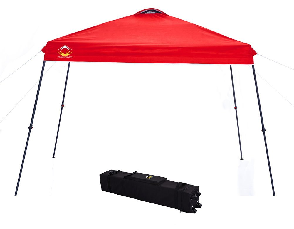 CROWN SHADES 11ft. x 11ft. Slant Leg One Push Up Clia Instant Folding Canopy With Wheeled Bag, Red