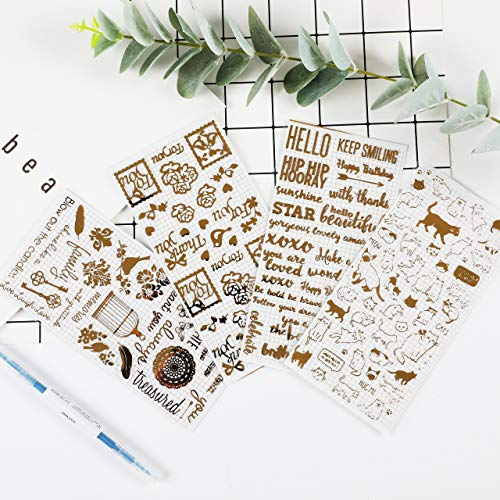 Inovat Cute Clear Gold Metallic Foil Sticker-Pack of 4 Decorative Craft Scrapbooking Stickers Set, Cats, Words, Flowers and etc (Inova A233)