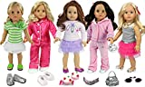 18 Inch Doll Clothing Set of 20 Pieces Includes Clothes, Shoes, Sunglasses, ...