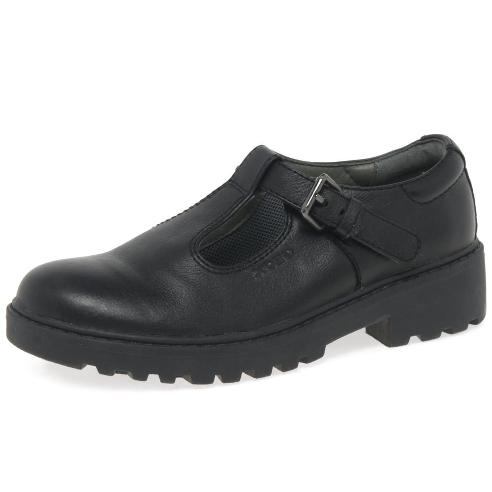 Geox J Casey G.O Girls Nappa Leather Shoes/Brogues-Black-2