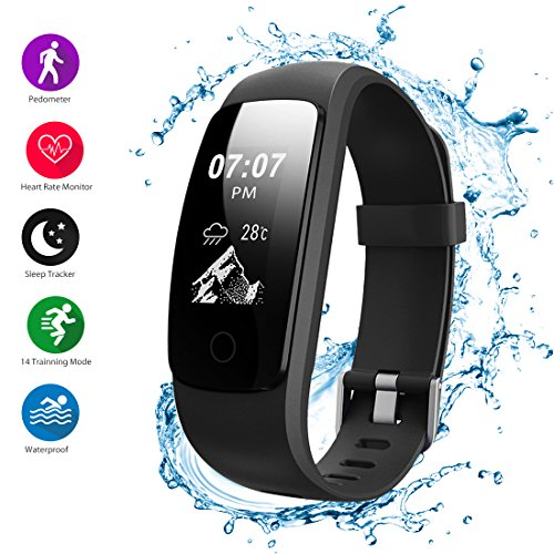 Helthyband H107 Plus Fitness Tracker Device, Heart Rate Monitor, Pedometer, Sleep tracker, GPS Tracker Watch, 14 Sport Mode Waterproof Activity Tracker with Call/SMS Remind for iOS/Android Cellphone