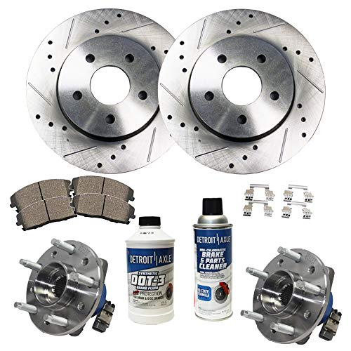 Grand Am Rotors - Detroit Axle - Front Wheel Bearing & Hub, Drilled and Slotted Disc Brake Rotors w/Ceramic Pads for 1997-2003 Chevy Malibu - [99-04 Olds Alero] - 99-05 Pontiac Grand Am - [97-99 Cutlass]
